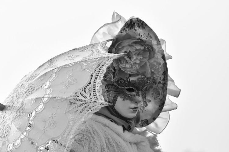White Background Close-up Headshot Young Adult Childhood One Person People Day Adult Outdoors Performing Arts Event Venice Mask Performance Fashion Fashion&love&beauty Carnival Crowds And Details Venetian Mask Mask Blackandwhite