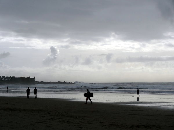 Incidental People Horizon Over Water Cloud - Sky Nature And People Rain Over The Ocean Clouds And Waves Coastline Atlantic Ocean Silhouette Beach Sand Surfers Winter Surfing
