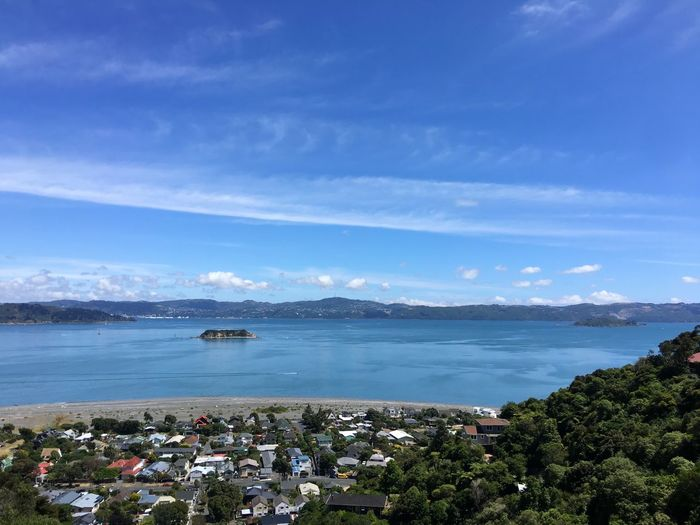 Scenic view of Wellington Harbour Landscape Island Harbour Harbour View Wellington Harbour Water Sea Scenics Tranquility