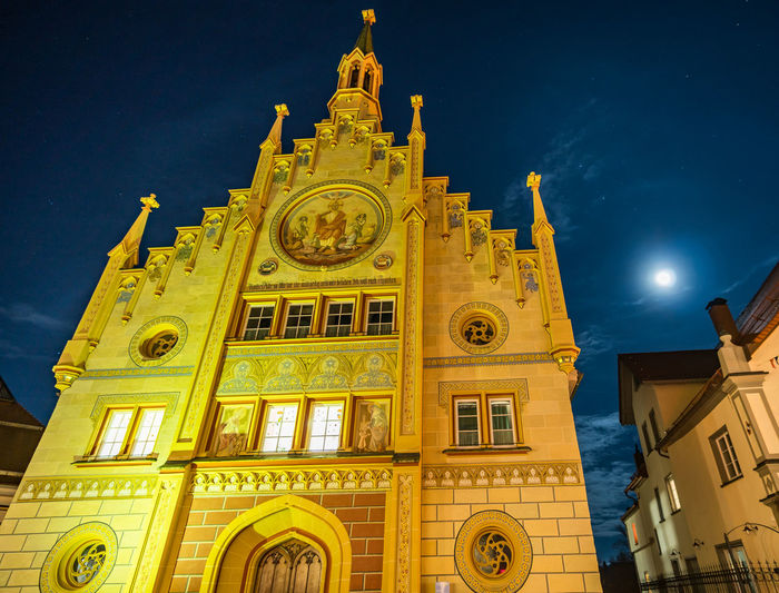 Hospital for the Holy Spirit in Bad Waldsee at a fullmoon night. Bad Waldsee Geist Hospital Spirit Architecture Belief Blue Building Building Exterior Built Structure Heilig Holy Illuminated Low Angle View Nature Night No People Place Of Worship Religion Sky Spirituality Spital Tower Waldsee Yellow