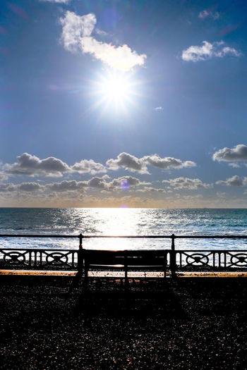 Bench Seat Shining Shining Bright Sunset Silhouettes Sunset_collection Wooden Seat Beauty In Nature Day Horizon Over Water Nature No People Outdoors Resting Time Scenics Sea Seat Shining Like The Sun Sky Star Shaped Sun Sunbeam Sunlight Tranquil Scene Tranquility Water