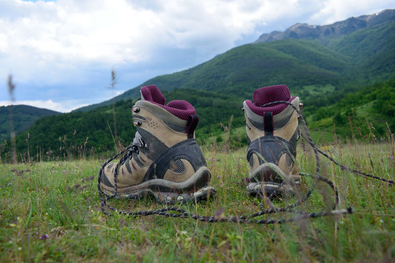 Balkan Mountai Bare Feet Beauty In Nature Bulgaria Chiprovtci Cloud - Sky Day Field Grass Green Color Growth Hiker Hiking Shoes Landscape Mountain Mountain Range Nature No People Outdoor Photography Outdoors Scenics Sky Tranquil Scene Tranquility Tree The Great Outdoors - 2017 EyeEm Awards