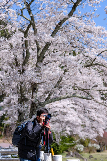 Happy Young man traveling take a photo with beautiful pink Cherry Blossom at Kawaguchiko lake, Yamanashi. Spring Season. landmark and popular for tourist attractions in Japan Plant Tree Camera - Photographic Equipment Nature Leisure Activity Beauty In Nature Photography Themes Real People Springtime Flower Day Lifestyles Activity Flowering Plant People Standing Blossom Adult Men Three Quarter Length Outdoors Cherry Blossom Cherry Tree Digital Camera Japan