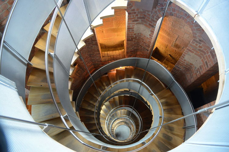 Staircase Spiral Steps And Staircases Spiral Staircase Architecture Built Structure Railing High Angle View Indoors  Modern No People Day Building Design Absence Pattern Metal Shape