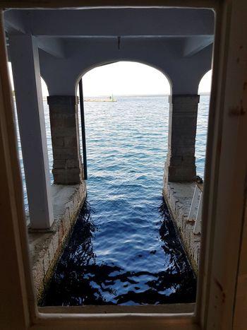 Photography Blue Vacation Croatia Brijuni Water Sea Window Sky Architecture Arch See Through Horizon Over Water Wave Shore Historic Building