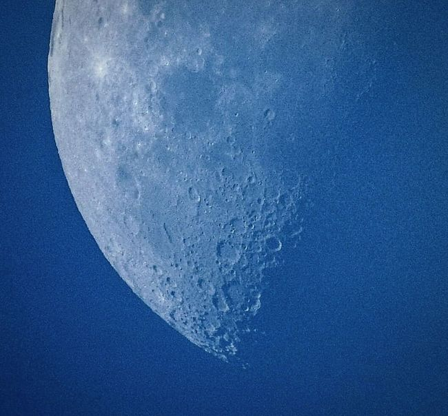 Daytime Moon Moon During Day Craters Close Up Blue Wave