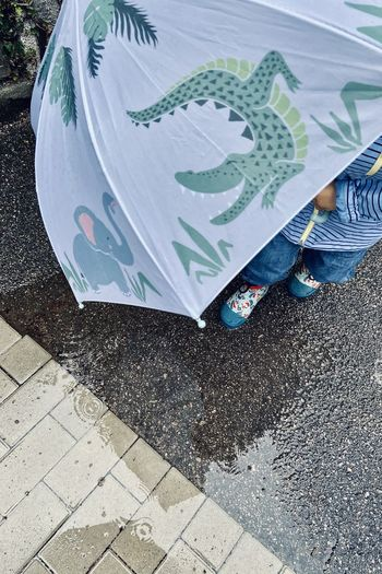 Low section of man holding umbrella on street