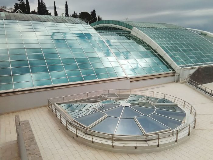 Architecture Outdoors Fish-eye Lens No People Sky Futuristic Cloud Reflections Cloud Sky Reflection Reflection Glass Roof Mooving Roof Pool Roof Modern Pool Architecture Pool Pool Hall Poolside City Kantrida Rijeka Day
