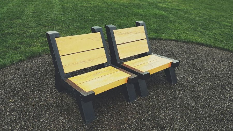 View of empty bench