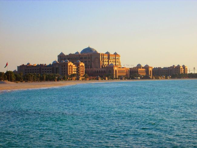 Architecture Beach Blue Water Building Exterior Built Structure Capital Cities  Corniche Dome Emirates Palace Famous Place Outdoors Sea Seafront Tourism Tourist UAE