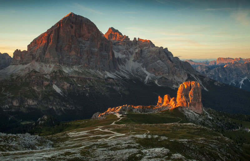Landscapes from Dolomite Mountains, Italian Alps. Alpine Alps Beauty In Nature Cinque Torri Cliff Dolomites Europe Geology Italy Landscape Light Mountain Nature Orange Color Photography Rock - Object Rocky Scenics Sunset Tranquil Scene Tranquility Travel Destinations View
