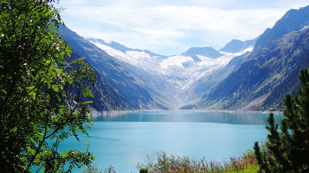 Schlegeis Schlegeisspeicher Hydroelectricpowerplant Lake Reservoir Mountain Mountain View Trees Lake View Lakeside Glacier Ice Snow Blue Lake Tirol  Landscape Landscape_Collection Nature Fir Grass Clouds And Sky Nature Photography Alps Austria Zillertal
