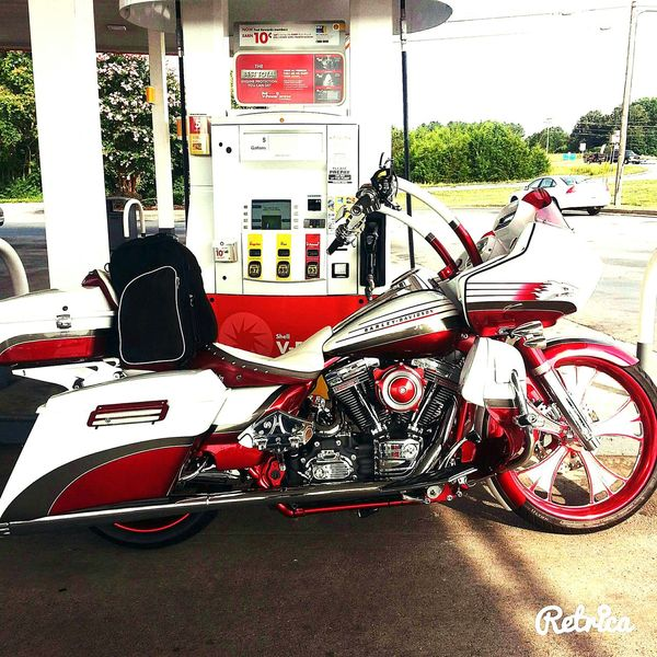 Motorcycle Red And Silver Gas Station Gears Mechanical Retro