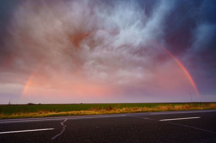 Adrianmitu Beauty In Nature Cloud - Sky Day Dramatic Sky Filds Fore Landscape Multi Colored Nature No People Outdoors Rain Rainbow Road Road Scenics Sky Storm Sunset Suntset The Way Forward Tranquility Weather