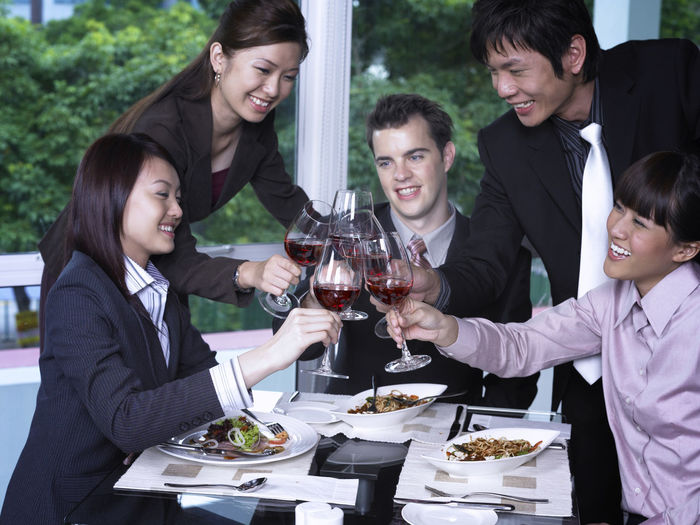 group of business people at restaurant Business Celebration Food And Drink Full Suit Happiness Lunch Refreshment Teamwork Toasting Well-dressed Wine Glass Businessman Businesswomen Collabration Colleague Formalwear Group Of People Happiness Hotel Lunch Meeting Refreshment Restaurant Success Wine Wineglass