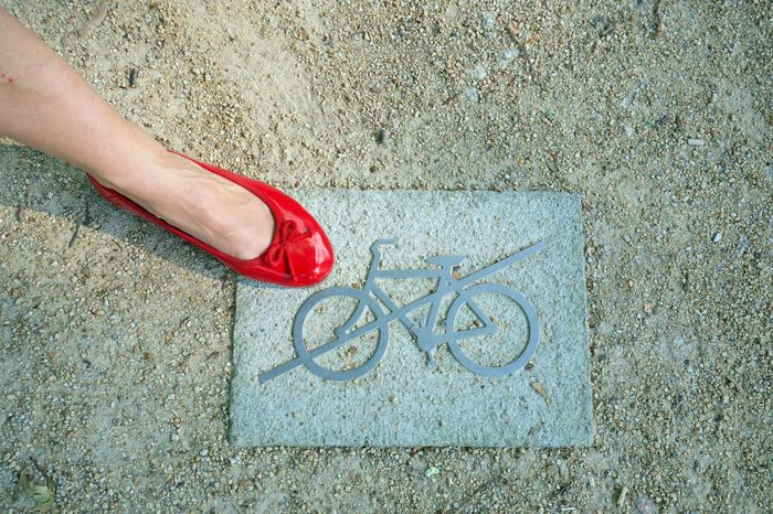 Bicycle Forbidden High Angle View Human Leg No Bikes No Bikes Allowed One Person Outdoors Real People Red Shoe