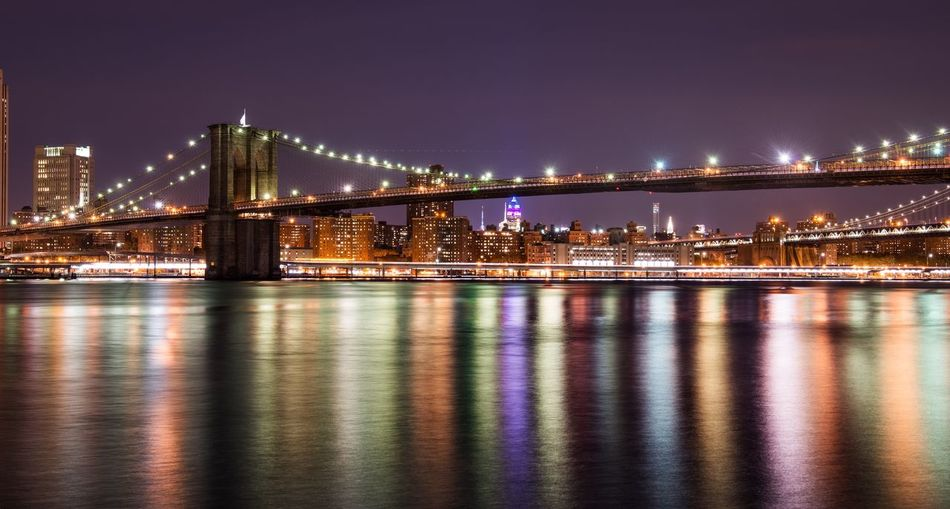 Cities At Night Bridge Brooklyn New York New York City Night River City Cityscapes City Lights Architecture