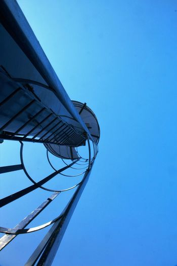 Stairway To Heaven Blue Clear Sky Climbing Crane Day Docks Harbor High Section Hoist Low Angle View Modern No People Outdoors Rungs Santa Cruz Das Flores Stairway To Heaven Urban Geometry