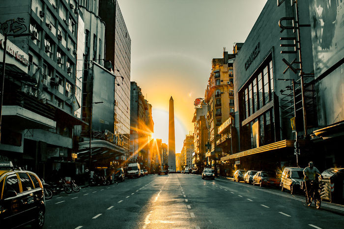 Architecture Buenos Aires Building Exterior Built Structure City Life Diminishing Perspective Fernow Obelisco, Buenos Aires 🌆 Sun Sunset Urban Spring Fever Vanishing Point The Architect - 2016 EyeEm Awards
