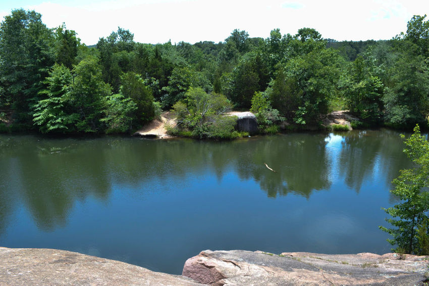 No Swimming! Beauty In Nature Day Elephant Rocks Green Color Growth Lake Nature No People Outdoors Plant Reflection Scenics Sky State Park  Tranquil Scene Tranquility Tree Water