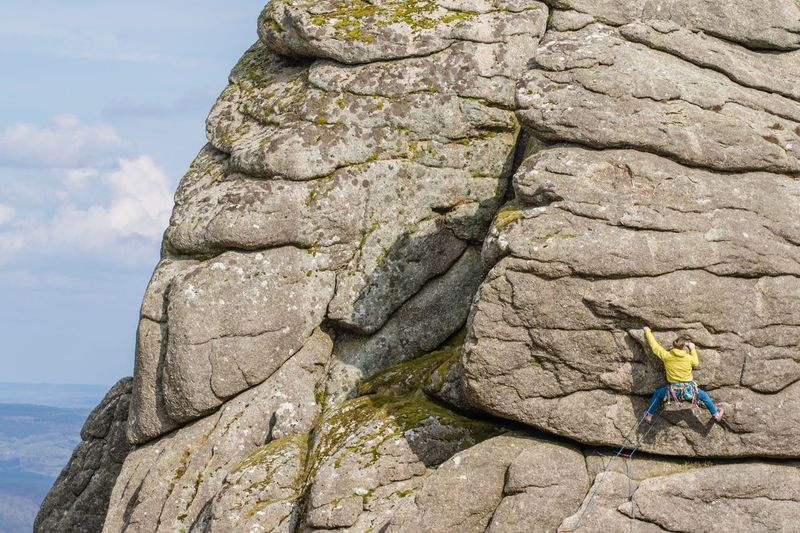 Determined Endeavour Determination Leadership Grip Climberslife Climber Haytor Dartmoor Day Outdoors Rock - Object Nature Sky One Person Climbing Beauty In Nature People
