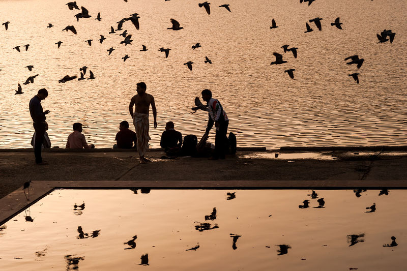 People on sea shore against sky during sunset