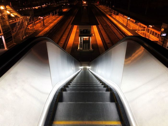 Train station Architecture Built Structure Transportation Illuminated Direction High Angle View The Way Forward No People Modern Metal City Night
