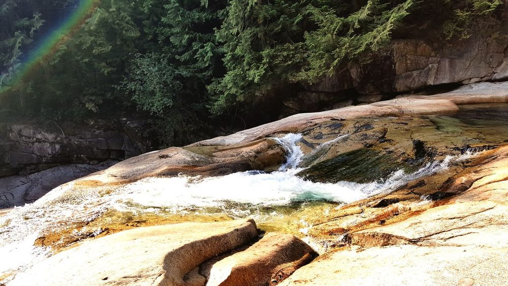 Rainbow above waterfalls River Rainbow River View Close-up Eyem Week Eyemweek Golden Ears Park British Columbia Beauty In Nature Maple Ridge BC Canada River Collection Water Outdoors Nature No People Creek Gold Creek Gold Creek Falls Waterfall Upper Falls