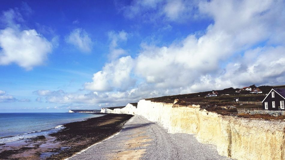 Beautiful Day Blue Sky Cliff Cliffside Seven Sisters Cliffs Scenic View Seaside