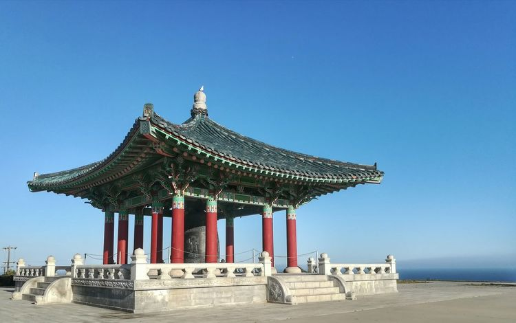 My favorite place to take pictures, fly drones or to just hang out. Koreanbelloffriendship Koreanfriendshipbell San Pedro California Architecture No People Built Structure Clear Sky Sky Outdoors Korean Friendship Bell Korean Bell Of Friendship San Pedro Southern California Cellphonephotography Cell Phone Photography Honor6x Huaweiphotography Huaweihonor6x