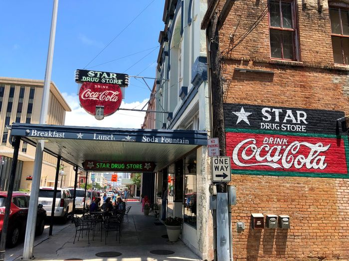 Star Drug Store, the oldest drug store in Texas. Lunch Counter Restaurant Travel Destinations Food And Drink Galveston Island  Galveston Texas Drug Store Coca Cola Sign Soda Fountain Drug Store Historic Building Communication City Advertisement Day Outdoors Street