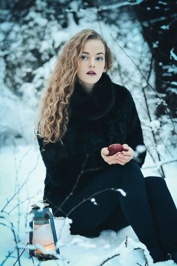 Winter Outdoors Photography Portrait Modelshoot  Curly Hair Black Color Snowy
