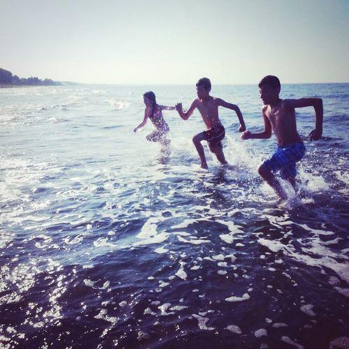 Summer Kids Happy Hi World Sea Swimming Turkey Samsun