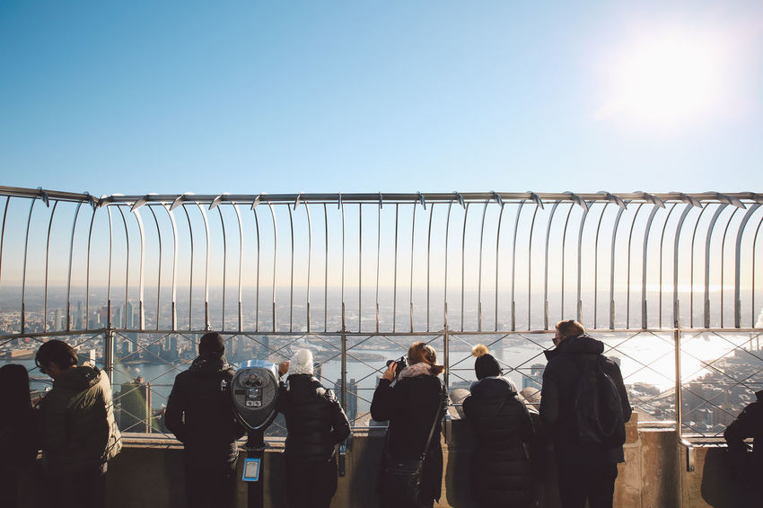 Adults Only Bridge - Man Made Structure Businessman Clear Sky Cold Empire State Building Manhattan Men Morning Nature New York New York City NYC Occupation Only Men Outdoors People Roof Rooftop Sky Solar Panel Sun Sunrise Winter The City Light