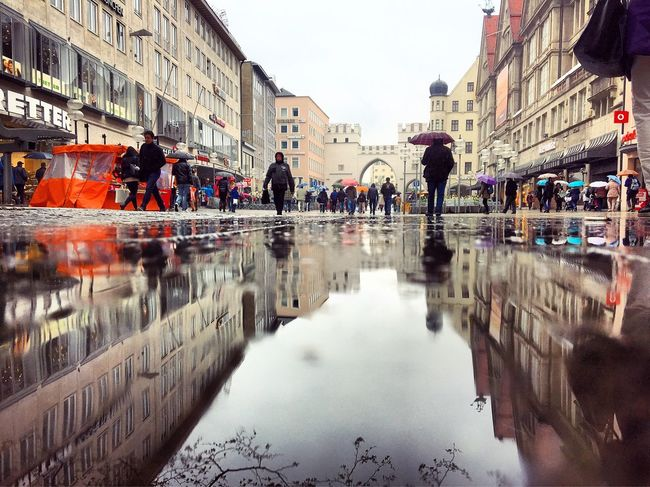 Munich Germany Bad Weather Wet Wet Ground Reflection City Center City Street Shopping Street
