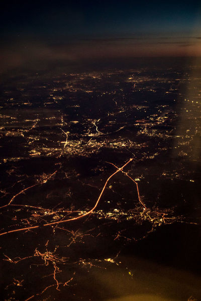 Flight Varadero (Cuba) - Frankfort/Main (Germany Aerial View Beauty In Nature Before Sunrise Dwellings High Angle View Illuminated Landscape Nature Night No People Outdoors Scenics Settlement Sky Street Through The Window Tranquil Scene Tranquility The Graphic City