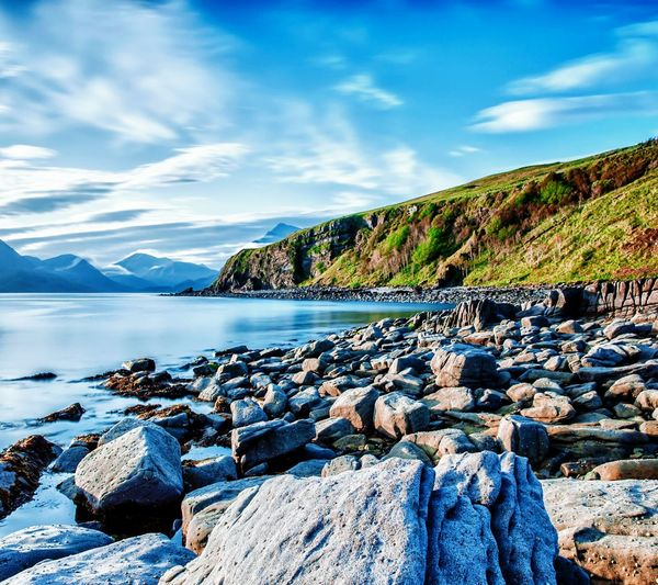 Nature Landscape Sea And Sky Cloud - Sky Mountain Lake Beach Destination Sky Scenics Beauty In Nature Reflection Grass CaptionThis Travelling Stones And Natur