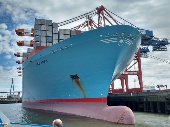Biggest Ship Built Structure Commercial Dock Container Ship Ebba Maersk Harbor Large Ship Maersk Man Made Wonders Nautical Vessel No People Outdoors Sea Shipping  Transportation Water
