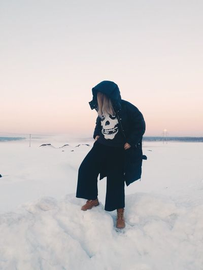 Pastel Power Winter Fog Mist Snow Sky Real People One Person Water Lifestyles Leisure Activity Land Full Length Nature Standing Beauty In Nature Cold Temperature Casual Clothing Clear Sky