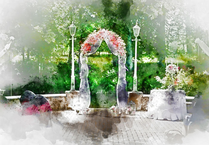 Digital watercolor painting of a wedding arch outdoors in summer Celebration Digital Drawing Summertime Watercolour Wedding Archway Decoration Digital Art Digital Illustration Digital Painting Digitally Altered Digitally Generated Digitally Generated Image Illustration Marriage  No People Outdoors Painting Summer Watercolor Watercolor Painting Watercolour Painting Wedding Arch Wedding Ceremony Wedding Outdoors