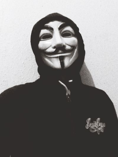 Real People One Person Looking At Camera Smiling Anonymous Anarchy Vendetta Black And White Revolution
