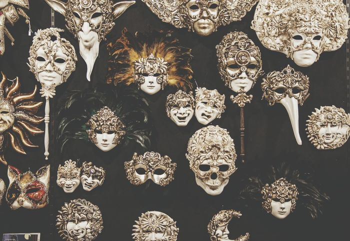 Venice Italy Carnival Mask Masks Masquerade Masque Theatre Europe Traditional Crafted Many Faces