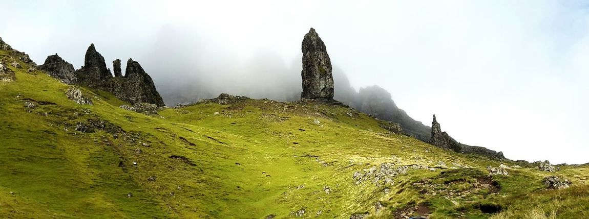 Panorama view of the Old Man of Storr, Isle of Skye, Scotland. A phantastic memory of my last holiday. The Old Man Of Storr Travel Photography Skye Isle Of Skye IsleOfSkye Scotland Scottish Highlands Nature Photography Mountain Range Fog Famous Place Greenery Landscapes Photographic Memory United Kingdom Mountain Landscapes With WhiteWall