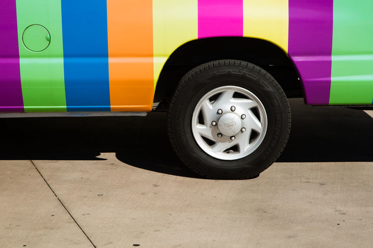 Rainbow Van Detail, Palm Springs California. Architecture California California Love Graphic Palm Springs Trip Vacations Close-up Colour Of Life Day Justin Sullivan Land Vehicle Midcentury Modern Mode Of Transport Outdoors Pride Rainbow Resort Road Trip Stationary Tire Transportation Van Wheel A New Perspective On Life