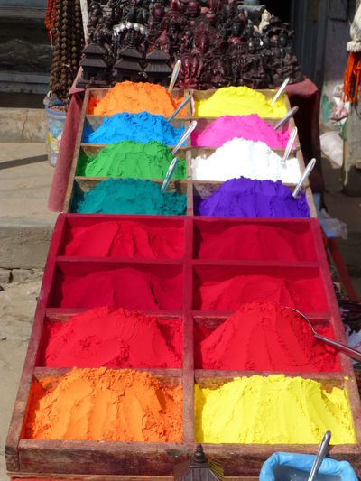 Colourful Colours Good Luck Happy Hinduism Red Wishes Blue colour of life Kathmandu Nepal Pulver Pulverize White Yellow