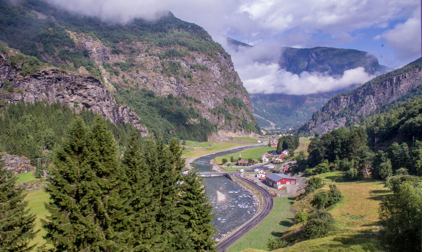 Flåm Railway Train Ride Norway Beauty In Nature Mountain Road Tree Transportation Plant Nature Scenics - Nature Sky Car Motor Vehicle Cloud - Sky Environment Mode Of Transportation High Angle View Day Mountain Range Landscape Outdoors