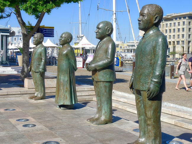 Nice place dedicated to South Africa's four Nobel Peace Prize laureates: Albert Luthuli, Desmond Tutu, FW de Klerk and Nelson Mandela. Art And Craft Day Human Representation Male Likeness Nobel Prize Outdoors Sculpture Statue