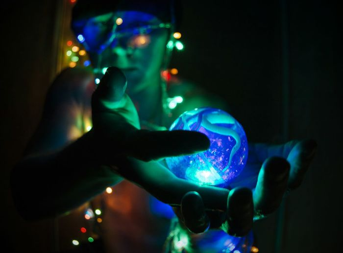 Self Portrait Mistery Ball Light Ball Neon Neon Lights In Hands From My Point Of View By Ivan Maximov Eyeem Photo The Week on EyeEm One Person Adults Only Adult People Illuminated Holding Night Human Hand Indoors  Young Adult Technology Projection Nightlife Love Yourself
