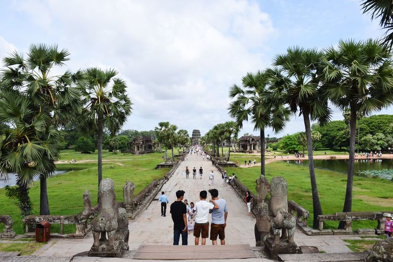 Trios always stay stable. Travel by three for more stability! Friends Friendship Travel Destinations Traveling Angkor Wat Temple Blue Sky Sunny Day Hot Day Summer View Depth Of Field Leisure Trip Tourist Cambodia Khmer ASIA Connected By Travel