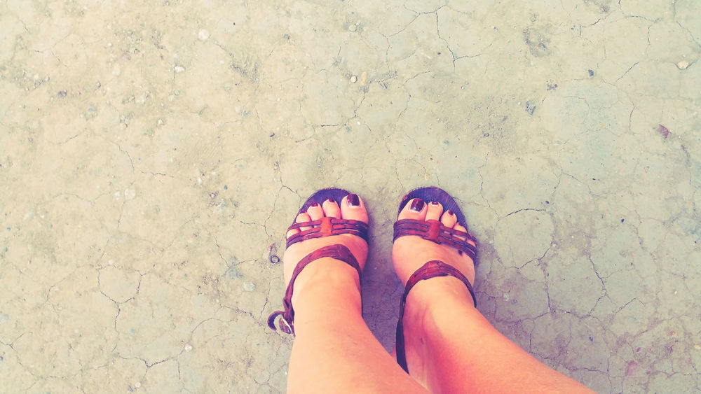 retro view Bird Perspective Dry Ground Feet Ground Old Sandals Retro Retro View Urban
